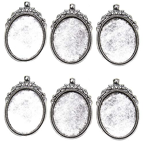 Monrocco 30 x 40mm 10 Pcs Antique Silver Oval Bezel Pendant Trays Blanks Cameo Bezel Cabochon Settings Necklace Findings for DIY Jewelry Making ()