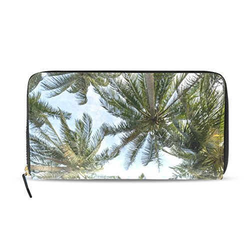 WIHVE Beach Vacation Sky Palm Tree Lady Long PU Leather Purse Clutch Zip Bag Travel Document Card Holder Fashion Women Wallet (Palm Tree Purse)