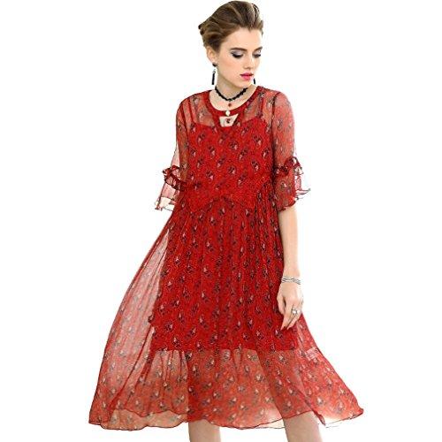 Primavera Manicotto Solido Vestito Il Collo Women`s Vestito Colore Per Cotiledone Di Abiti La Allentato V L'autunno Del Del Increspano Stampati Rosso xU84wwqf