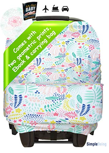 Simple Being Nursing Breastfeeding Cover (2 Pack) - Multi Use Car Seat Canopy, Nursing Pads, Shopping Cart, Stroller Covers for Girls and Boys - Baby Shower Registry (Floral)