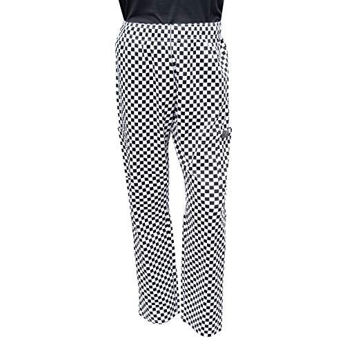 Cargo Baggy Chef Pants - Chef Code Baggy Chef Pants with Cargo Pockets, Elastic Waist CC220 (Checkered White, XL)