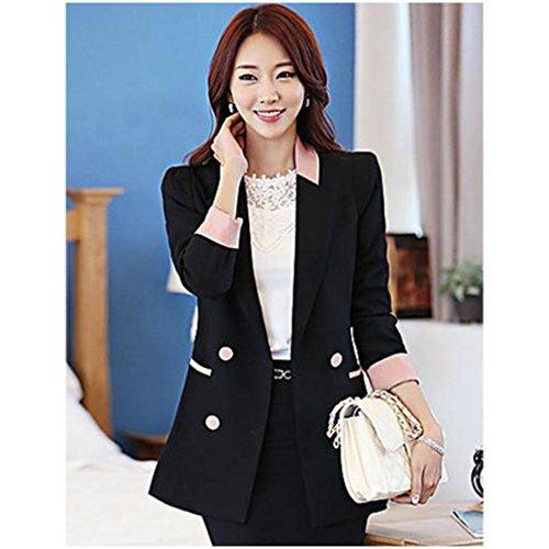 エレガントコントラストカラーのスーツのジャケット(ブラック)