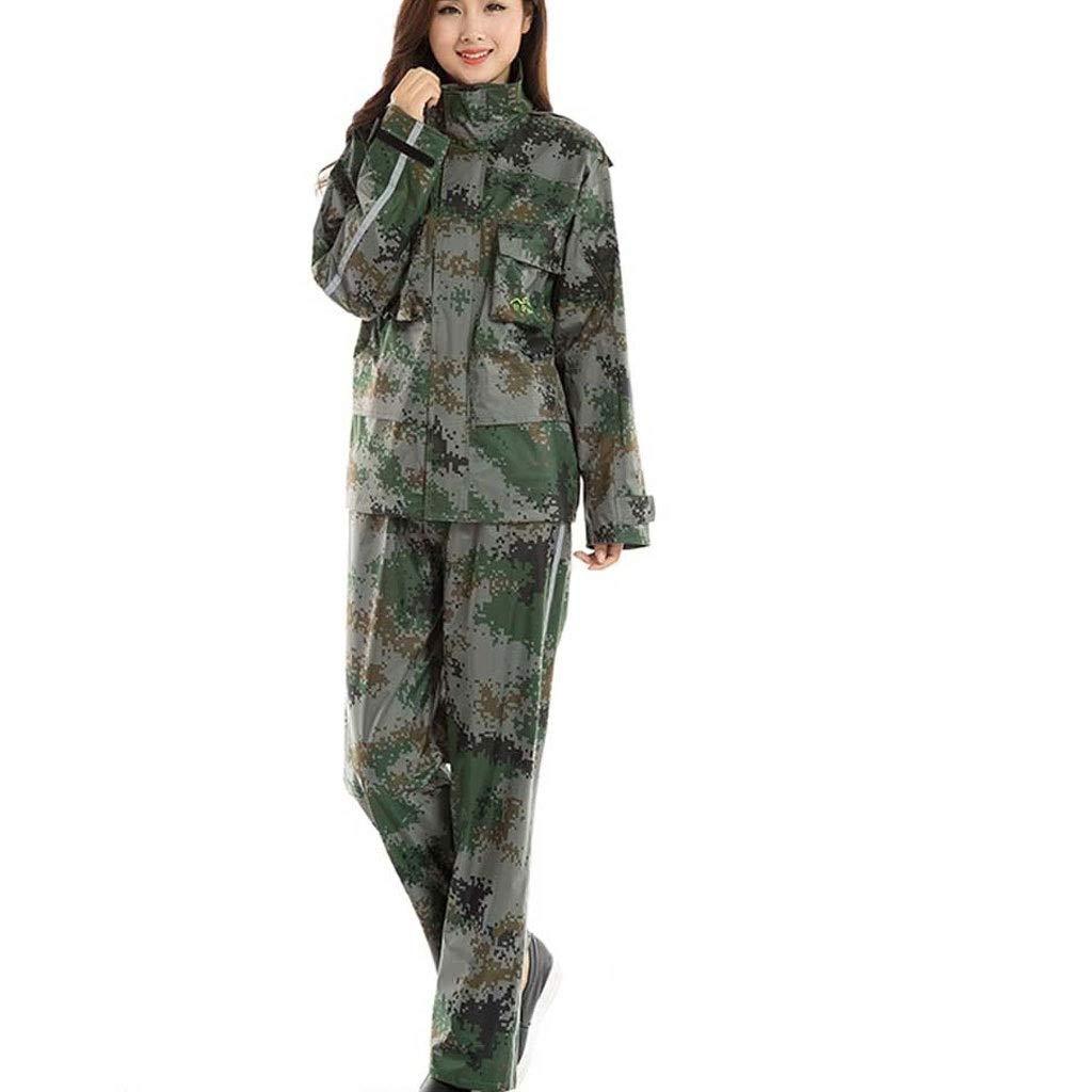 vert Camouflage grand Duanguomei Imperméable- Costume de Plein air Adulte Split Type Moto équitation Camouflage pêche imperméable imperméable imperméable à l'eau Fermeture à glissière Highligh