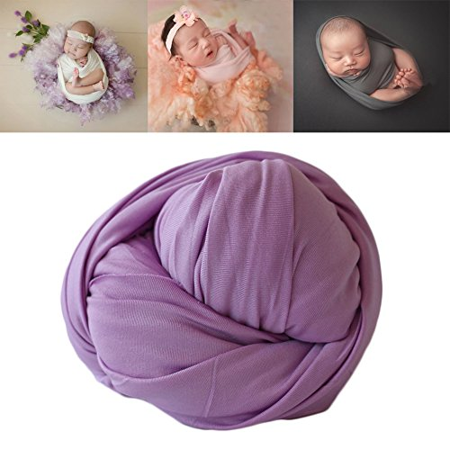 Newborn Baby Photo Props Blanket Backdrop Cotton Stretch Without Wrinkle Wrap for Boy Girls Photography Shoot (Purple)