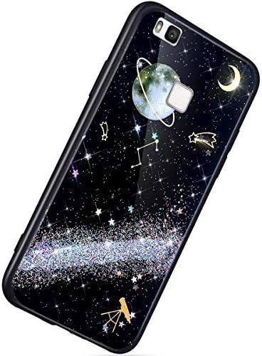 Herbests Kompatibel mit Huawei P9 Lite Hülle TPU Schutzhülle Glitzer Sterne Universum Planet Muster Ultra Dünn Handyhülle TPU Bumper Weiche Silikon Rückseite Stoßfest Hülle,Silber