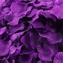 LEFV™ 1000pcs Silk Rose Petals Artificial Flower Wedding Party Vase Decor Bridal Shower Favor Centerpieces Confetti Decorations (40 Colors for Choice)- Dark Purple