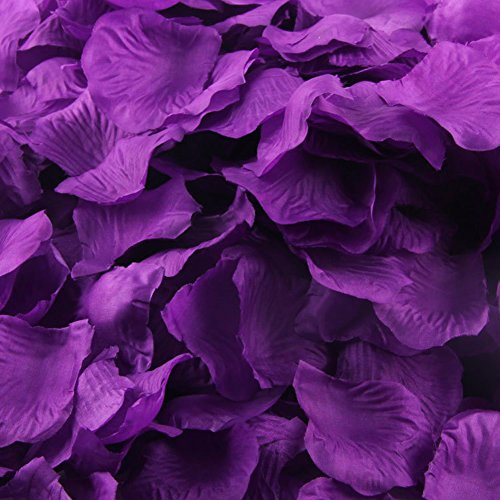 "LEFVâ""¢ 1000pcs Silk Rose Petals Artificial Flower Wedding Party Vase Decor Bridal Shower Favor Centerpieces Confetti Decorations (40 Colors for Choice)- Dark Purple"