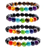 Top Plaza Men Women 8mm Lava Rock Stone 7 Chakra Bracelet Black Healing Energy Gemtone Beads Mala Meditation Bracelet(Pack of 4 10mm Beads)