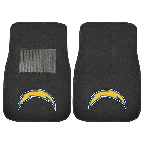 Fanmats 10747 Team Color One Size 2 Piece Embroidered Car Mat Set NFL (Los Angeles Chargers), 2 (Ncaa Embroidered Black Vinyl)