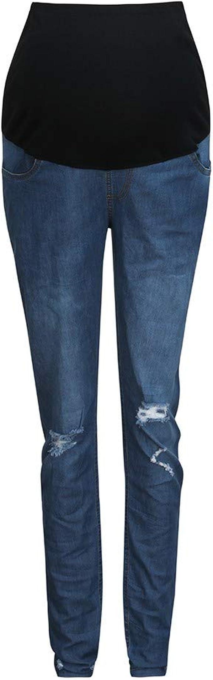 Mujer Embarazada Skinny Pantalones Suave Ajustable Denim Elastico Cuidado Vientre Gucistyle Jeans Maternidad