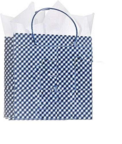 Bath and Body Works Blue Gingham Print Gift Bag with Tissue Paper 5 Pack