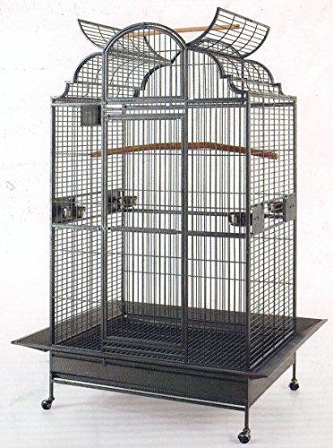 Elegant Wrought Iron Open/Close Dome Play Top Bird Parrot...