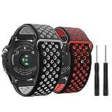 MoKo Watch Band for Garmin Fenix 3, [2PACK] Soft Silicone Replacement Watch Band for Garmin Fenix 3/Fenix 3 HR/Fenix 5X Smart Watch - Black Gray & Black Red