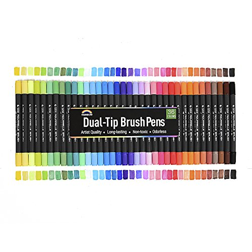 Rainbow Premium Dual Tip Markers - 36 Unique Watercolor Drawing Pens - Fineliner & Brush Tips - Water Based Ink - Non Bleed - Art Marker Set for Drawing, Coloring, Journaling, Lettering