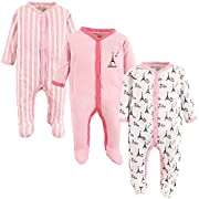 Luvable Friends Baby Cotton Snap Sleep and Play, Paris 3 Pack, 3-6 Months