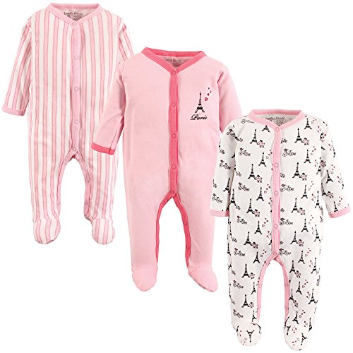 Luvable Friends Unisex Baby Sleep and Play, Paris 3-Pack, 6-9 Months (9M)