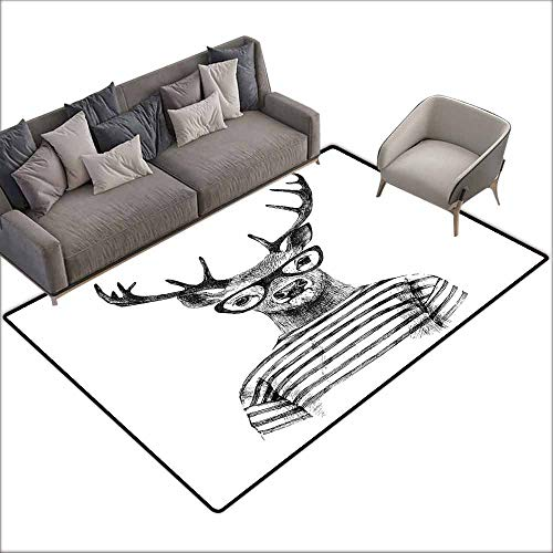 Bath Rug Deer Dressed up Reindeer Headed Human Hipster Style with Glasses Stripped Shirt All Season General W6' x L6'10 Charcoal Grey White]()
