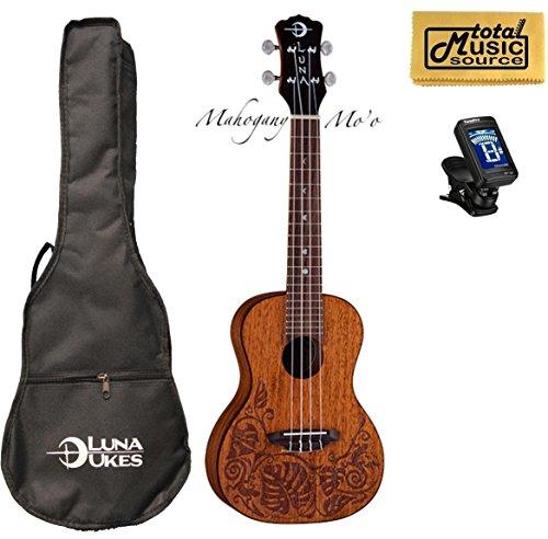 Luna Mahogany Mo'o Concert Ukulele w/ Tuner & PC by Luna Guitars