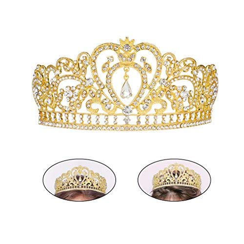Exacoo Girls Crowns Heart Rhinestone Crystal Bridal Crowns Tiaras Prom Queen Crown Pageant Crowns Princess Crown for Women (Gold) -