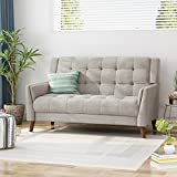 Evelyn Mid Century Modern Fabric Loveseat, Beige