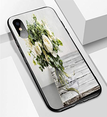 (iPhone X/XS Ultra-Thin Phone case Bridal Vintage Bouquet The Bride s Beautiful of Mixed Flowers and Greenery Decorated with Silk Ribbon Lie Anti-Drop Anti-Slip Soft Convenient Protective)