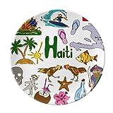 Haiti Landscap Animals National Flag Dessert Plate Decorative Porcelain 8 inch Dinner Home
