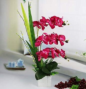 Artificielle Soie Fleur Papillon Orchidée Phalaenopsis Plante En Bois