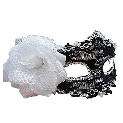 MMMMM Face mask Shield Veil Guard Screen Domino False Front Halloween Dance Princess mask Female lace Party Fun Half face mask Black and White,1]()