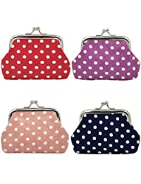 """Oyachic 4 Packs Coin Purse with Clasp Kisslock Change Pouch Small Coin Wallet Gift for Women Girls 3.5""""L X 2.8"""" H"""