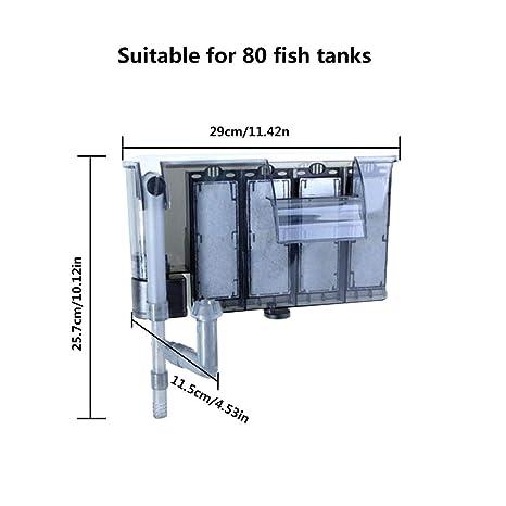 Biback Filtro Profesional Acuario,Externa Bomba de Oxígeno Cascada Filtro para Acuario Estanque de Peces