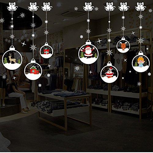 Mlide Xmas Santa Claus Snowman Elk Wall Stickers, Christmas Living Room Window Decoration (A,70cm x50cm)