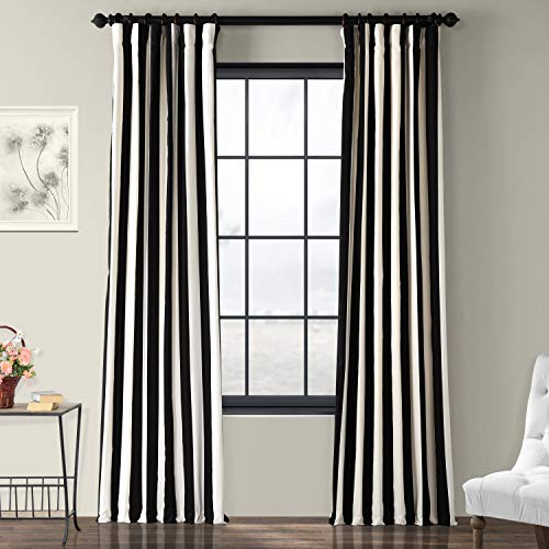 Half Price Drapes PRTW-D17-84 Printed Cotton Curtain, Cabana Black