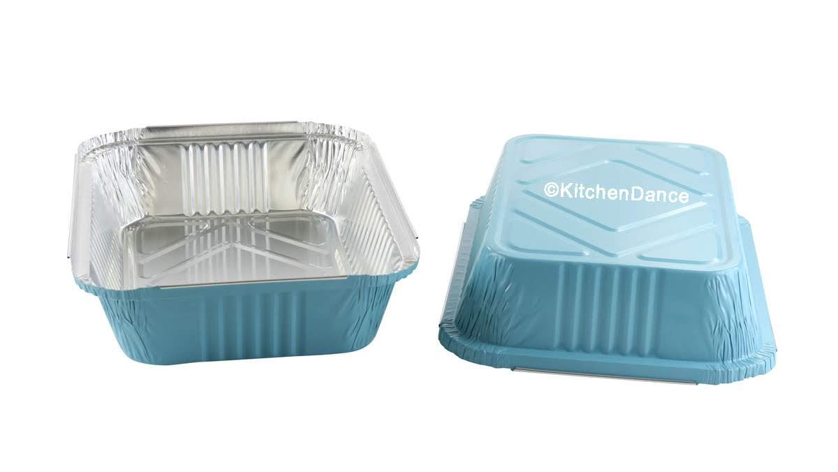 KitchenDance Disposable Colored Aluminum 3.75 Pound Take Out Pans. Color and Lid Options (with Plastic Lids, Blue, 25) by KitchenDance.com (Image #2)
