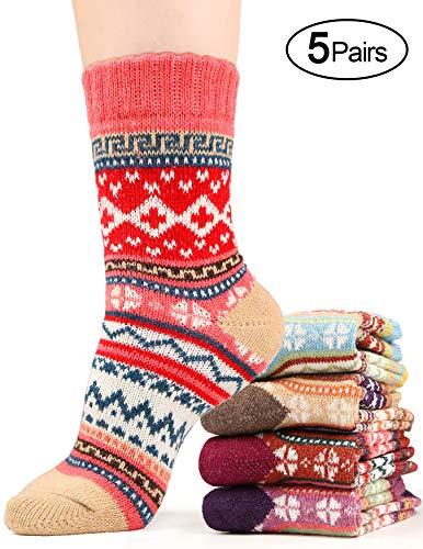 Winter Socks for Women Wool Blend Knit Cotton Warm Ankle Crew Sock Fun Design, 5 Pack, One Size