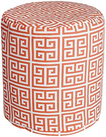 "Majestic Home Goods Orange Towers Indoor/Outdoor Bean Bag Ottoman Pouf 16"" L x 16"" W x 17"" H"