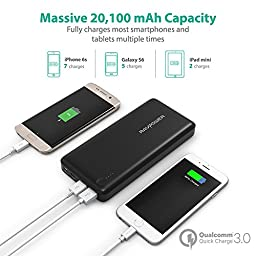USB C Power Bank RAVPower 20100 Portable Charger QC 3.0 Qualcomm Quick Charge 3.0 20100mAh Input & Output Type C Battery Pack for Macbook, Nexus 6, iPhone and More