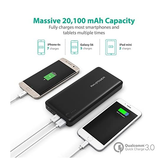 RAVPower USB C Battery Pack 20100 Portable Charger with QC 3.0 Qualcomm Quick Charge 3.0, 20100mAh Input & Output Type C Power Bank for Nintendo Switch, iPhone, 12-inch MacBook, Galaxy and More 5 Choose the RAVPower Treatment: Join millions of users worldwide that rely on our leading technology for their daily charging needs Quick Charge 3.0 Input & Output: 75% faster technology, charge compatible smartphones from 0 to 80% in only 60 minutes; QC3.0 input allows for speedy recharging of the battery charger Type-C Input & Output: The airplane-friendly power bank recharges up to 5V/3A; compatible with Nintendo Switch, 12-inch MacBook, Google Pixel 2, Samsung Galaxy S8 / S8 Plus, Huawei Mate 10 Pro