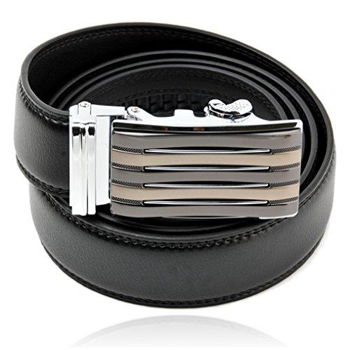 Braided Snap Belt Strap (Mens Dress Leather Belt,Black Belt Strap, Silver Ratchet Buckle, 3.5cm Wide, Gift for)