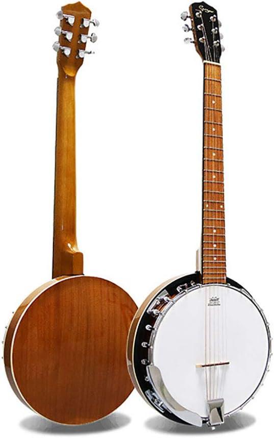 BLKykll Banjo De 6 Cuerdas,Banjo Guitarras Acústicas con Palanca De Ajust Jugar Regalos El Viernes