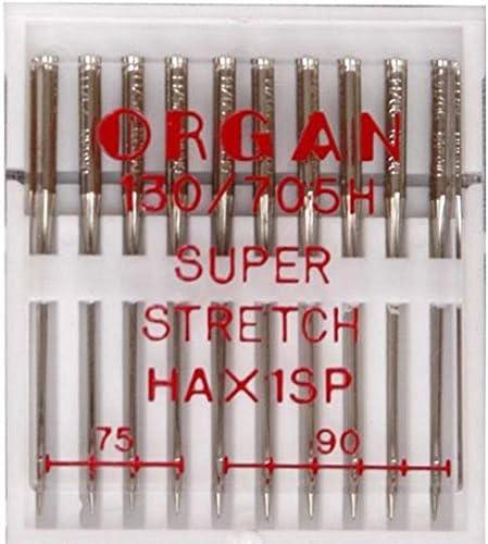 Organ Lot de 10 aiguilles pour machine /à coudre super stretch 75-90 HAxSP