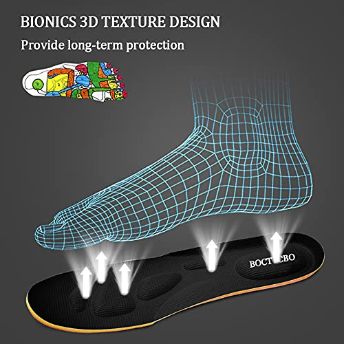 BOCTTCBO Memory Foam Insoles Cut to Fit Arch Support Shoe Insoles Flat Foot Orthotics Insoles Anti-Odour and Breathable Running Insoles for Men Women