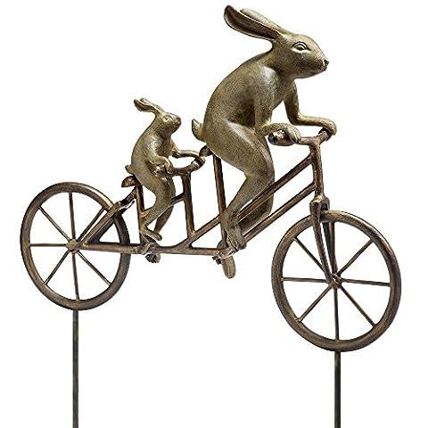 Garden Sculpture Metal Rabbit Tandem Bicycle Bunny Outdoor Statue - Ceramic Tortoise Vases