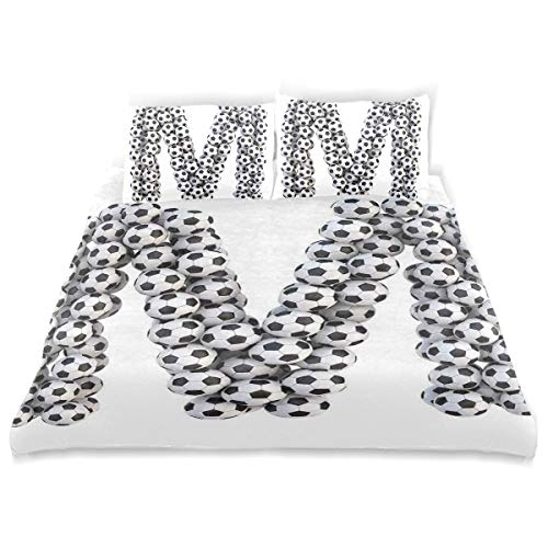 SINOVAL Decor Duvet Cover Set, Diagonal and Vertical Stack of Soccer Balls Alphabet Letter M Symbol Design A Decorative 3 Pcs Bedding Set with Pillowcases, Queen/Full