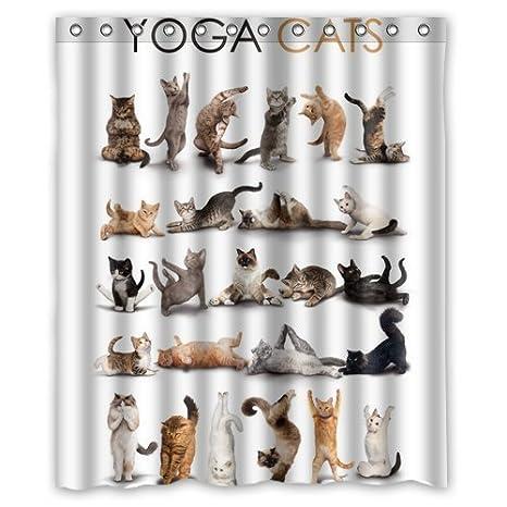 Aluoni Yoga Cats Shower Curtain