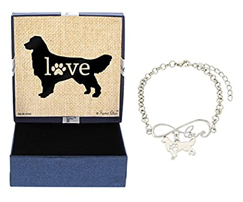 Mother's Day Gifts Love Golden Retriever Bracelet Gift Love Charm Dog Breed Silhouette Charm Bracelet Silver-Tone Bracelet Gift for Golden Retriever Owner Jewelry - Golden Retriever Wrapping Paper