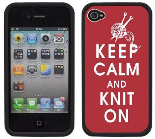Gardez le calme et tricote   Fait à la main   iPhone 4 4s   Etui Housse noir