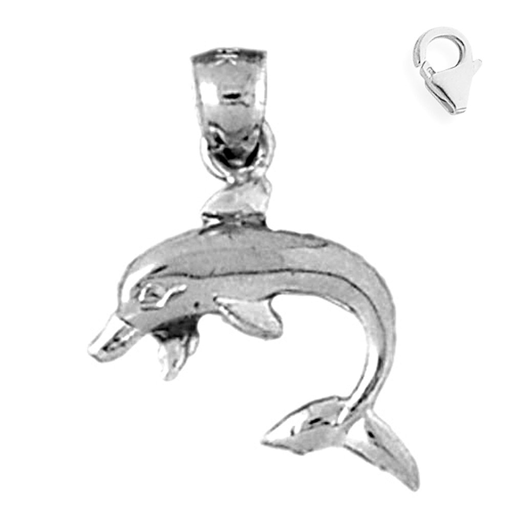 JewelsObsession Sterling Silver 23mm Dolphin Charm w//Lobster Clasp