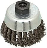Anderson - 2-3/4'' Diam, M10x1.25 Threaded Arbor, Knotted Steel Cup Brush - 0.02'' Filament Diam, 14,000 Max RPM (3 Pack)