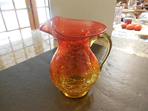 Vintage Large Alberina Crackle Glass Pitches Applied Clear ()