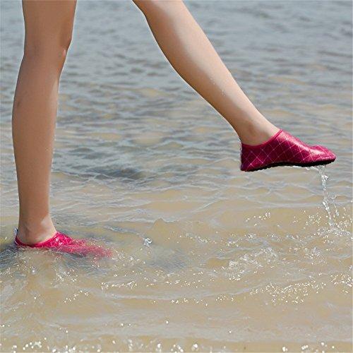 iLory Jungen und Mädchen Barfuß Aqua Wasser-Haut-Schuhe Wohnungen Pool-Schuhe Schwimmschuhe Aqua Wasser Schuhe für Kinder Rose